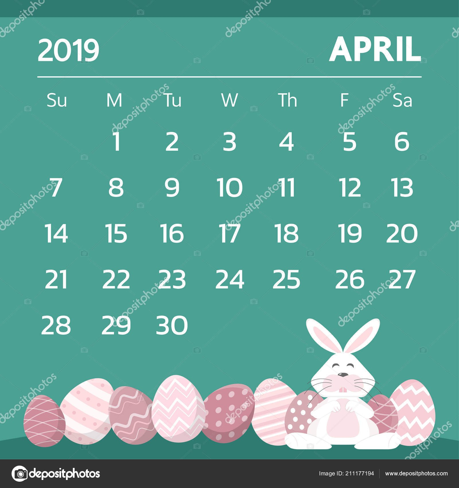 Calendar April 2019 Easter Egg Theme Vector — Stock Vector Calendar 2019 Easter
