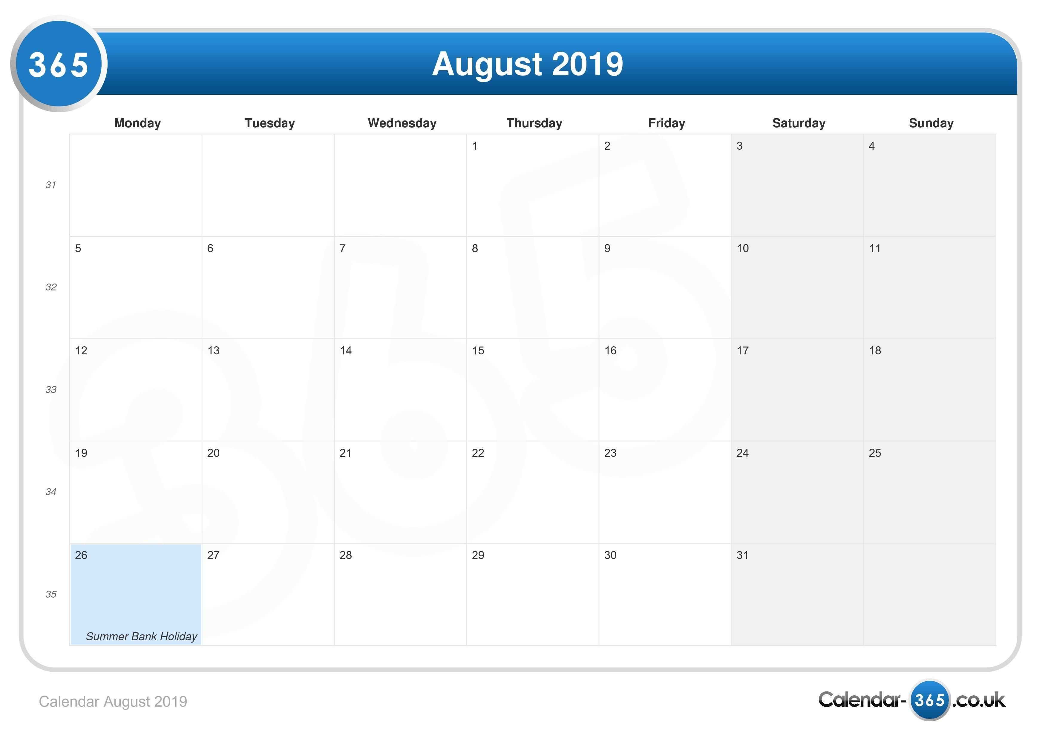 Calendar August 2019 August 3 2019 Calendar
