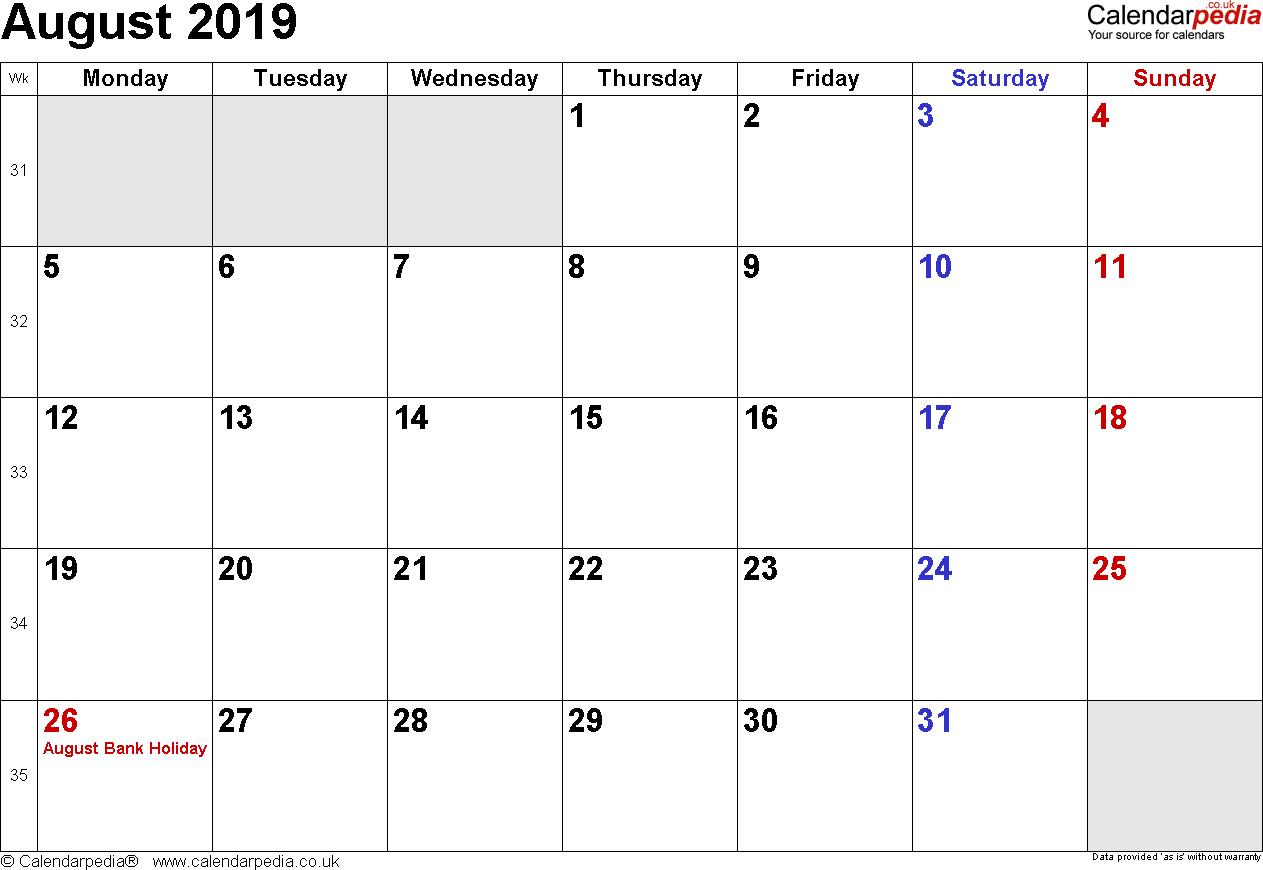 Calendar August 2019 Uk, Bank Holidays, Excel/pdf/word Templates August 1 2019 Calendar