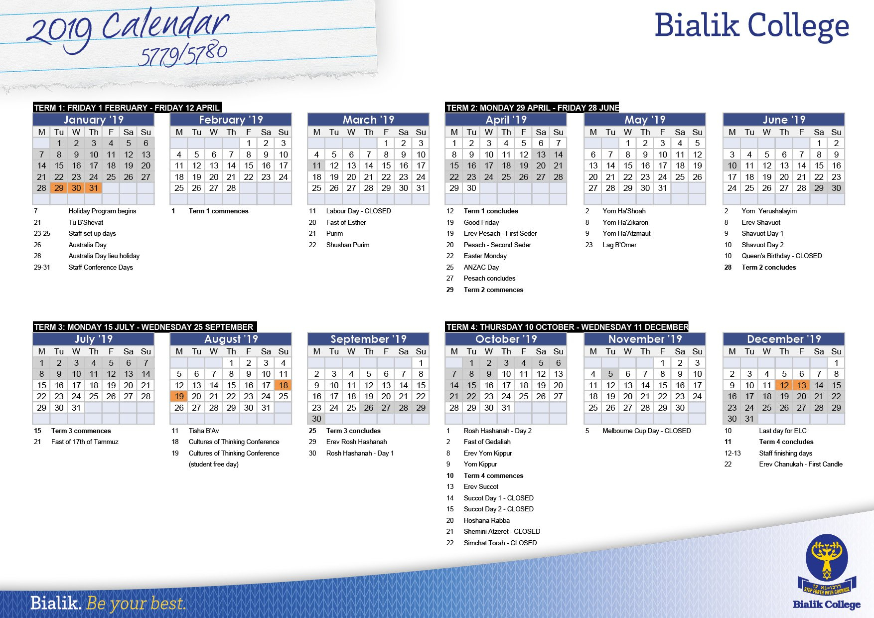Calendar - Bialik Calendar 2019 Vic School Holidays