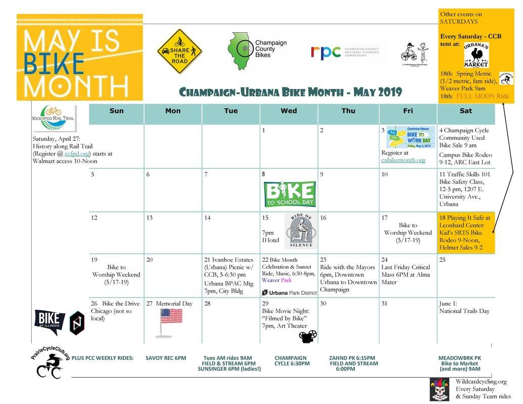Calendar - C-U Bike Month 2019 U Of C Calendar 2019