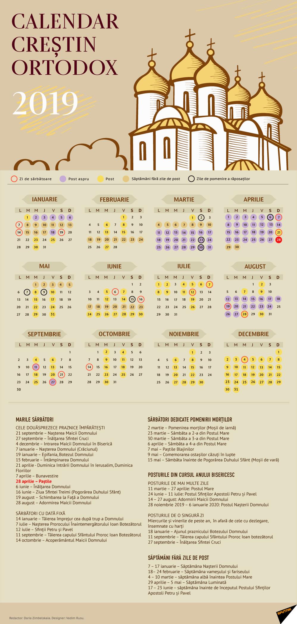 Calendar Creștin Ortodox 2019 - Stil Vechi Calendar 2019 Ortodox