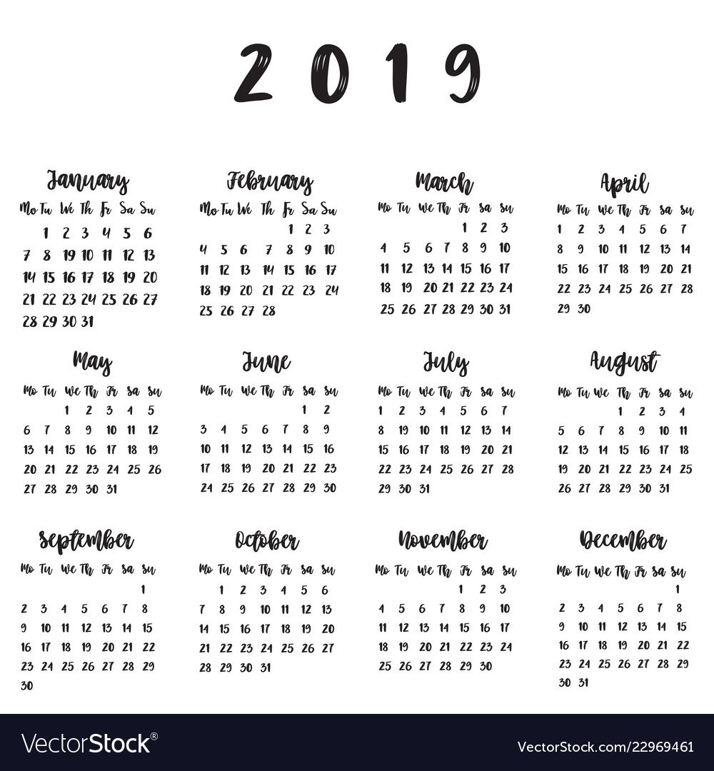 Calendar For 2019 Calendar 2019 Vector Image