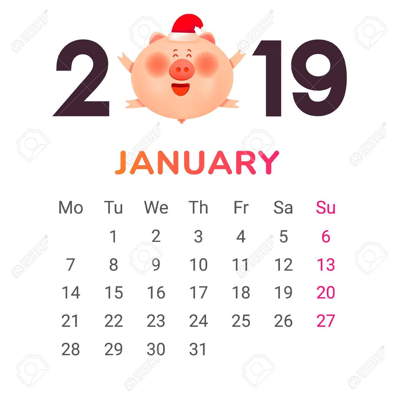 Calendar For 2019. January Month. Color Numbers With A Jolly Calendar 2019 Gift