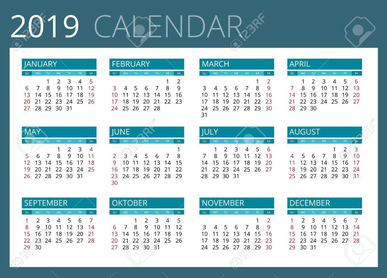 Calendar For 2019. Week Starts Sunday. Simple Vector Design Royalty Calendar Week 14 2019