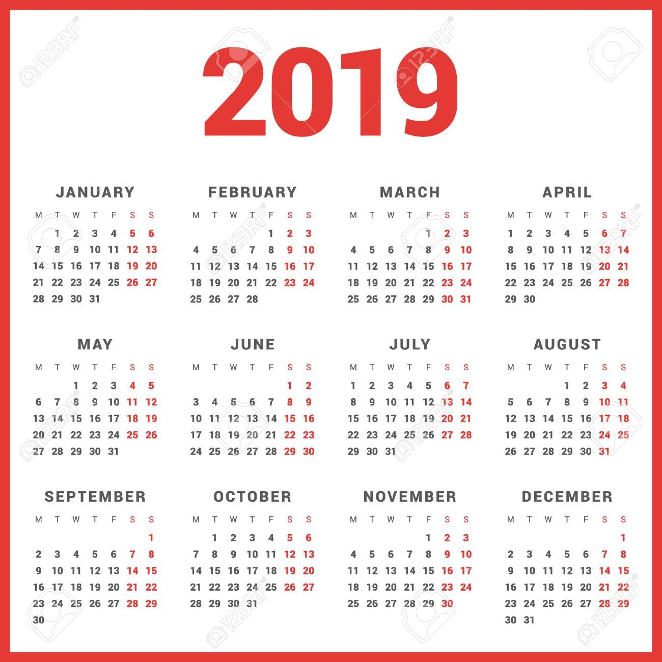 Calendar For 2019 Year On White Background. Week Starts Monday Calendar 2019