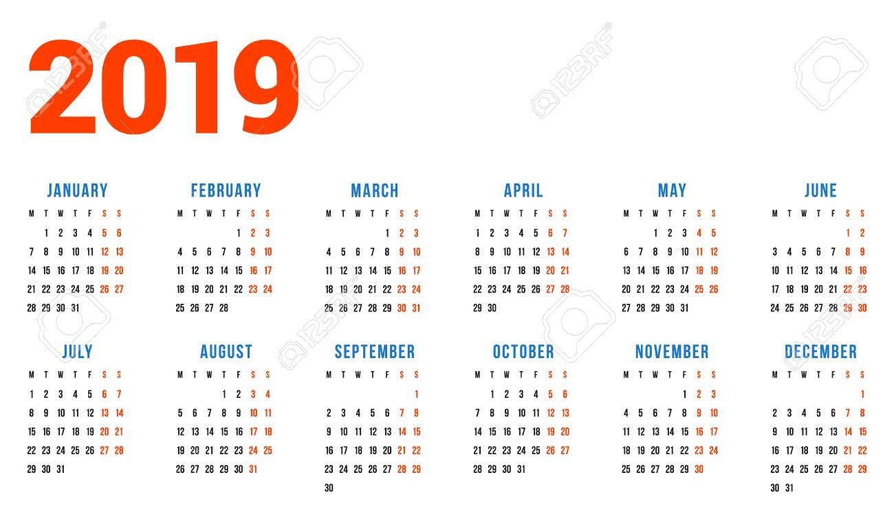 Calendar For 2019 Year On White Background. Week Starts On Monday Calendar Week 6 2019
