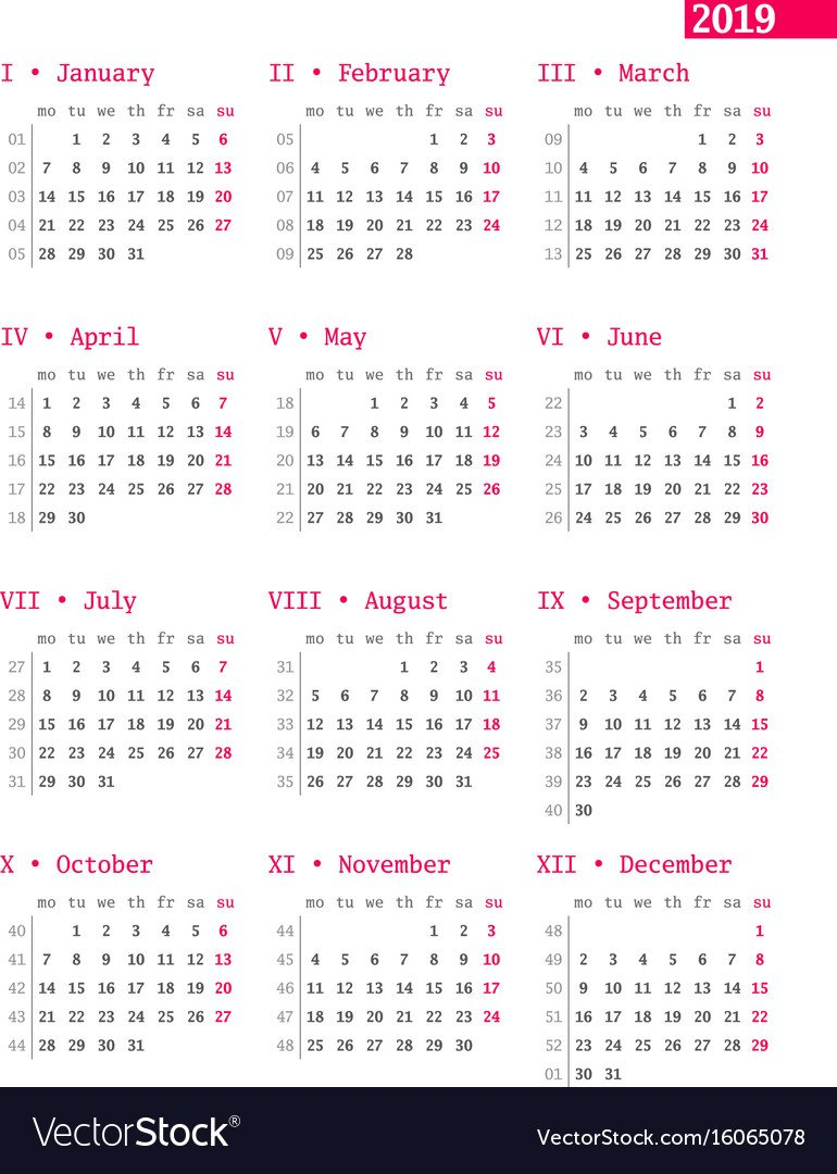 Calendar For 2019 Year With Week Numbers On White Vector Image Calendar 2019 Numbered Weeks