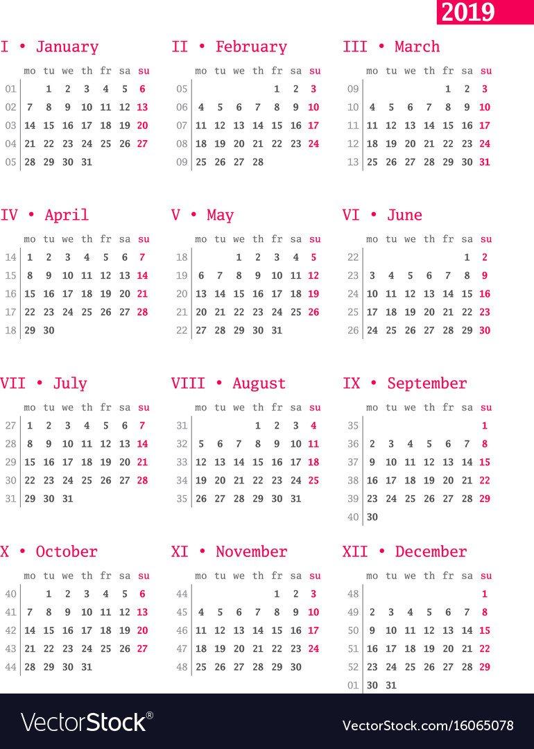 Calendar For 2019 Year With Week Numbers On White Vector Image Week 6 Calendar 2019