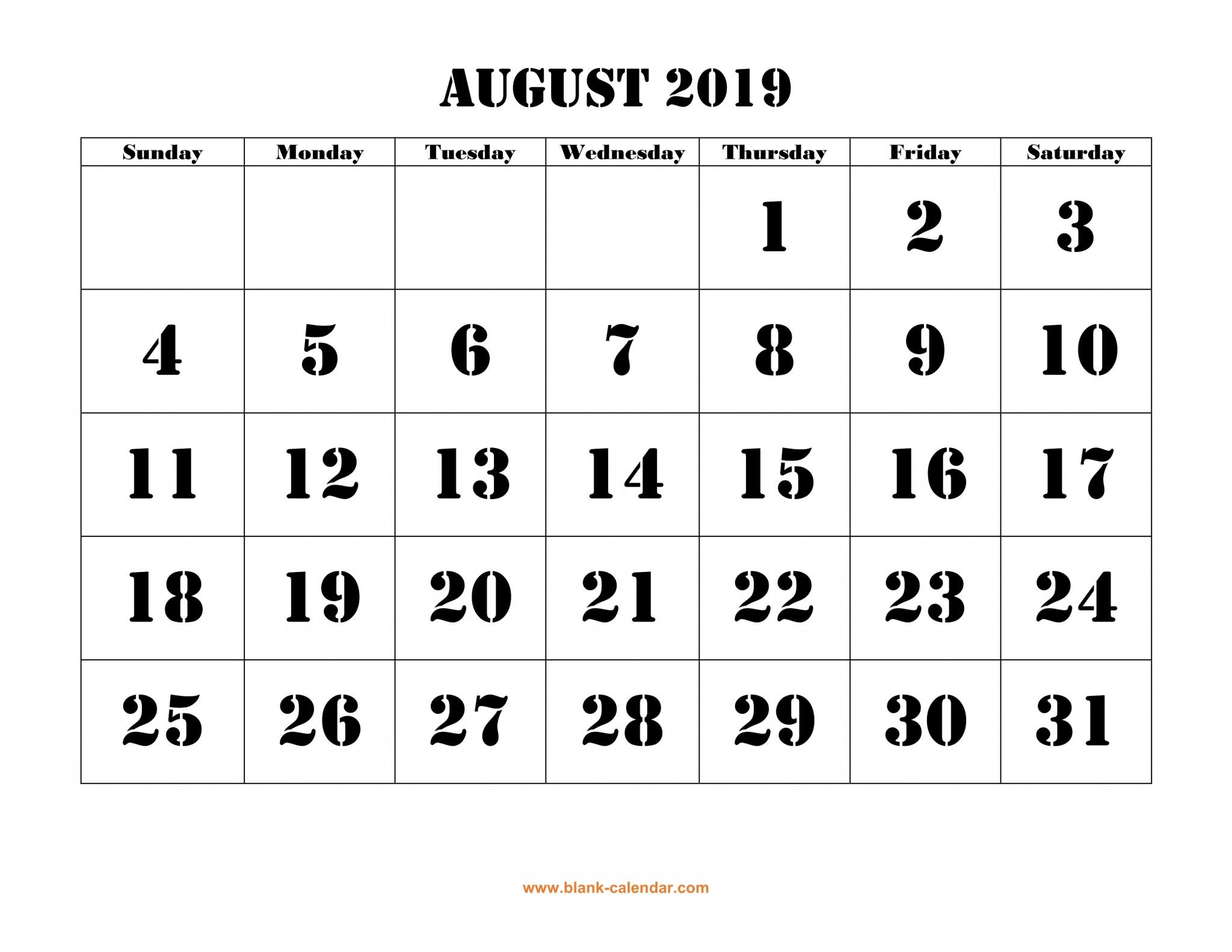 Calendar For August 2019 - Free Printable Calendar, Templates And August 9 2019 Calendar