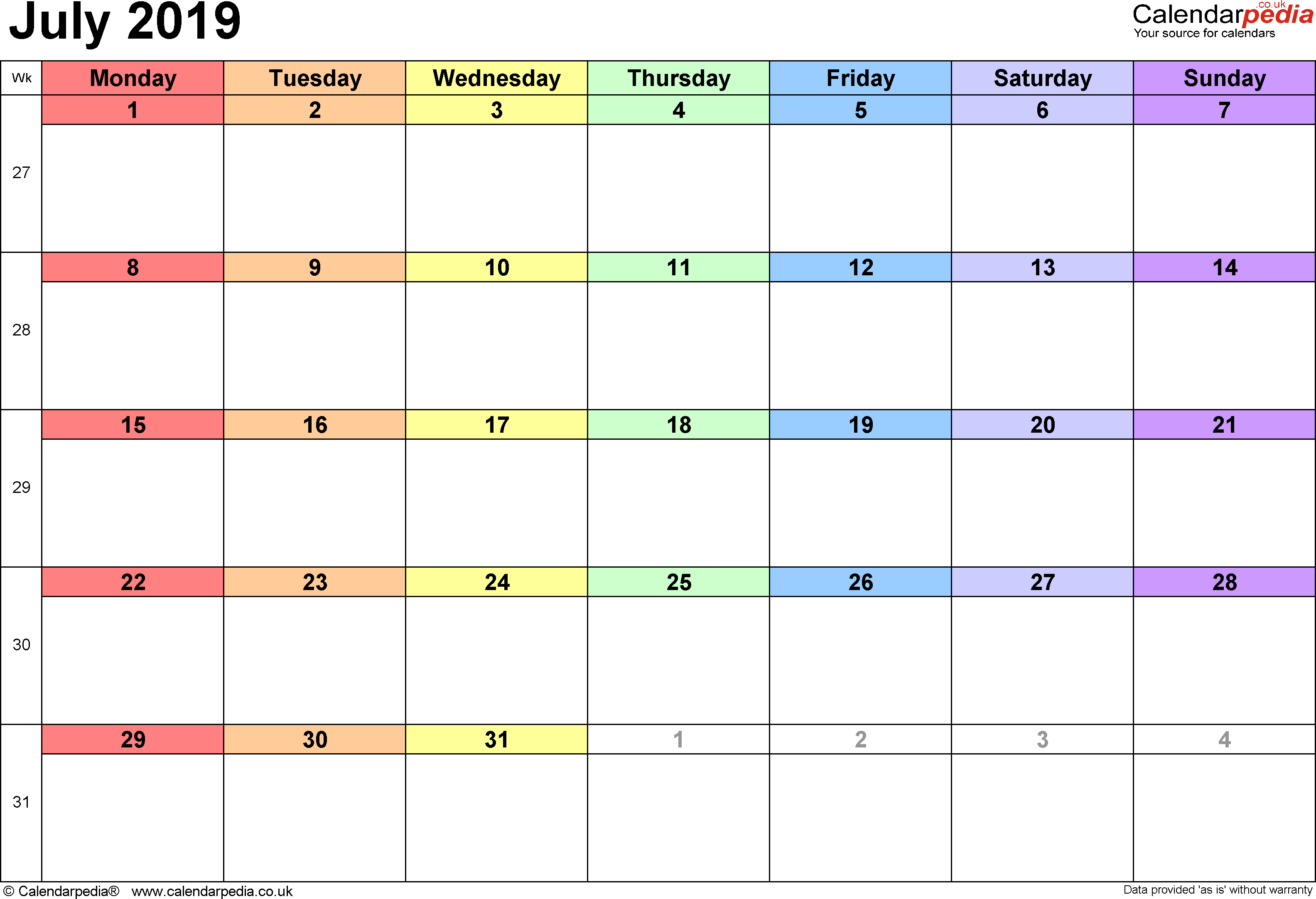 Calendar July 2019 Uk, Bank Holidays, Excel/pdf/word Templates Calendar 2019 Calendarpedia