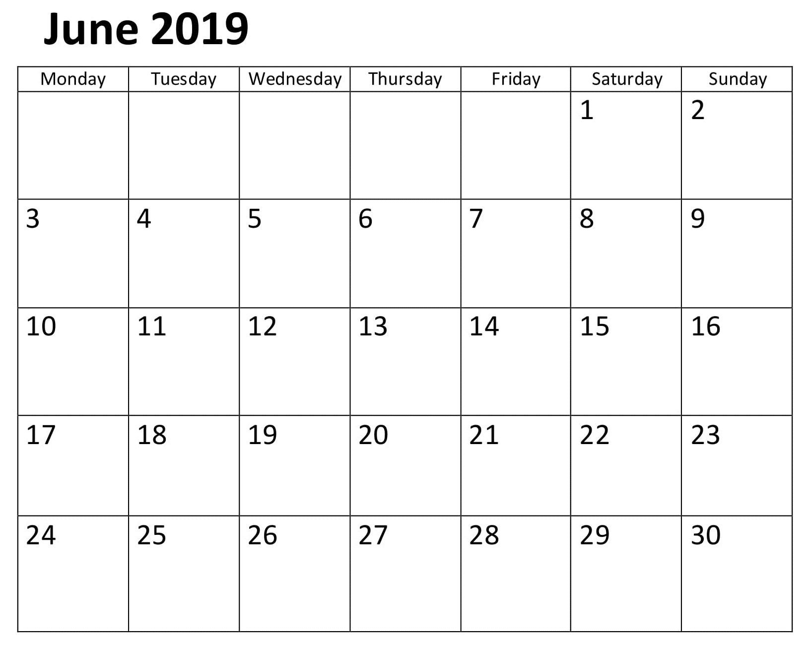 Calendar June 2019 Template Word | Calendar June 2019 | Calendar Calendar 2019 Template Word