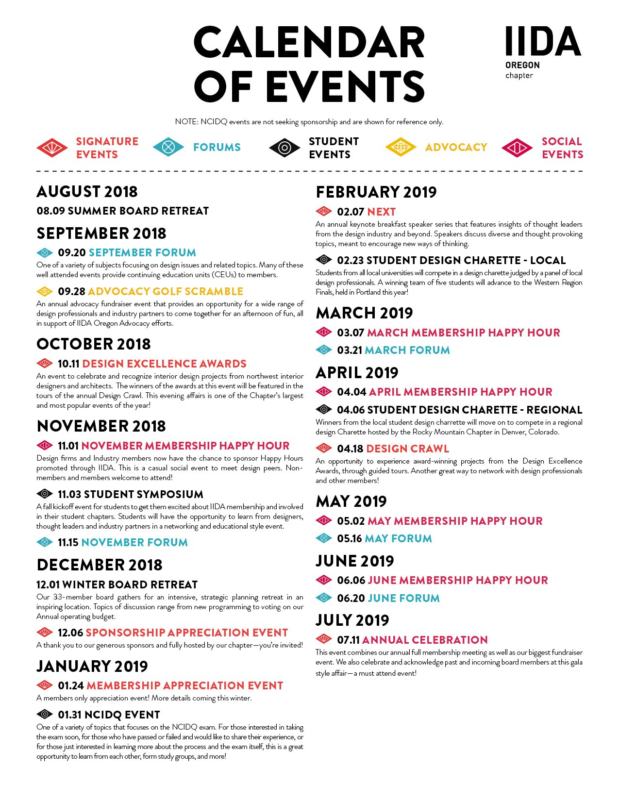 Calendar Of Events | Iida Oregon Chapter Calendar 2019 Of Events