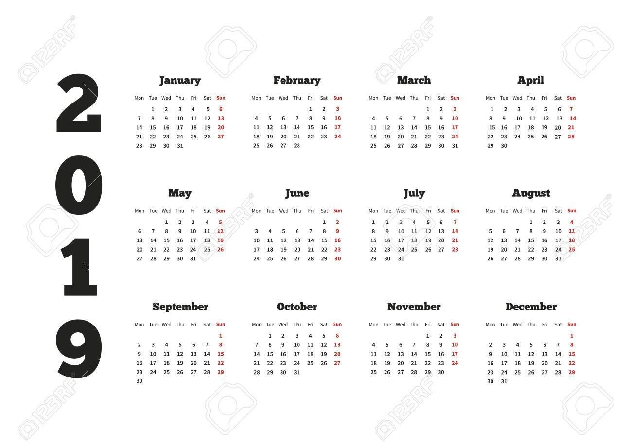 Calendar On 2019 Year With Week Starting From Monday, A4 Horizontal Calendar 2019 Horizontal