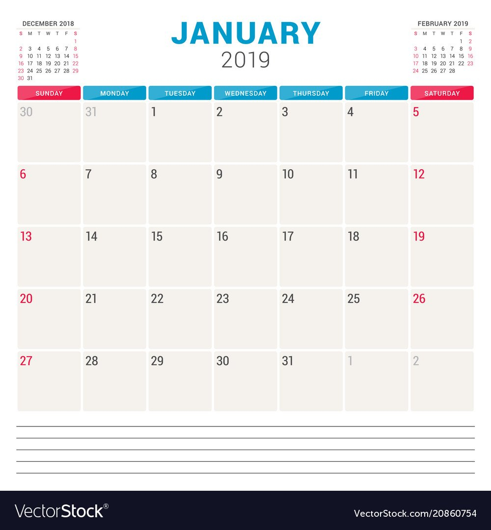 Calendar Planner For January 2019 Week Starts On Vector Image Calendar 2019 Planner