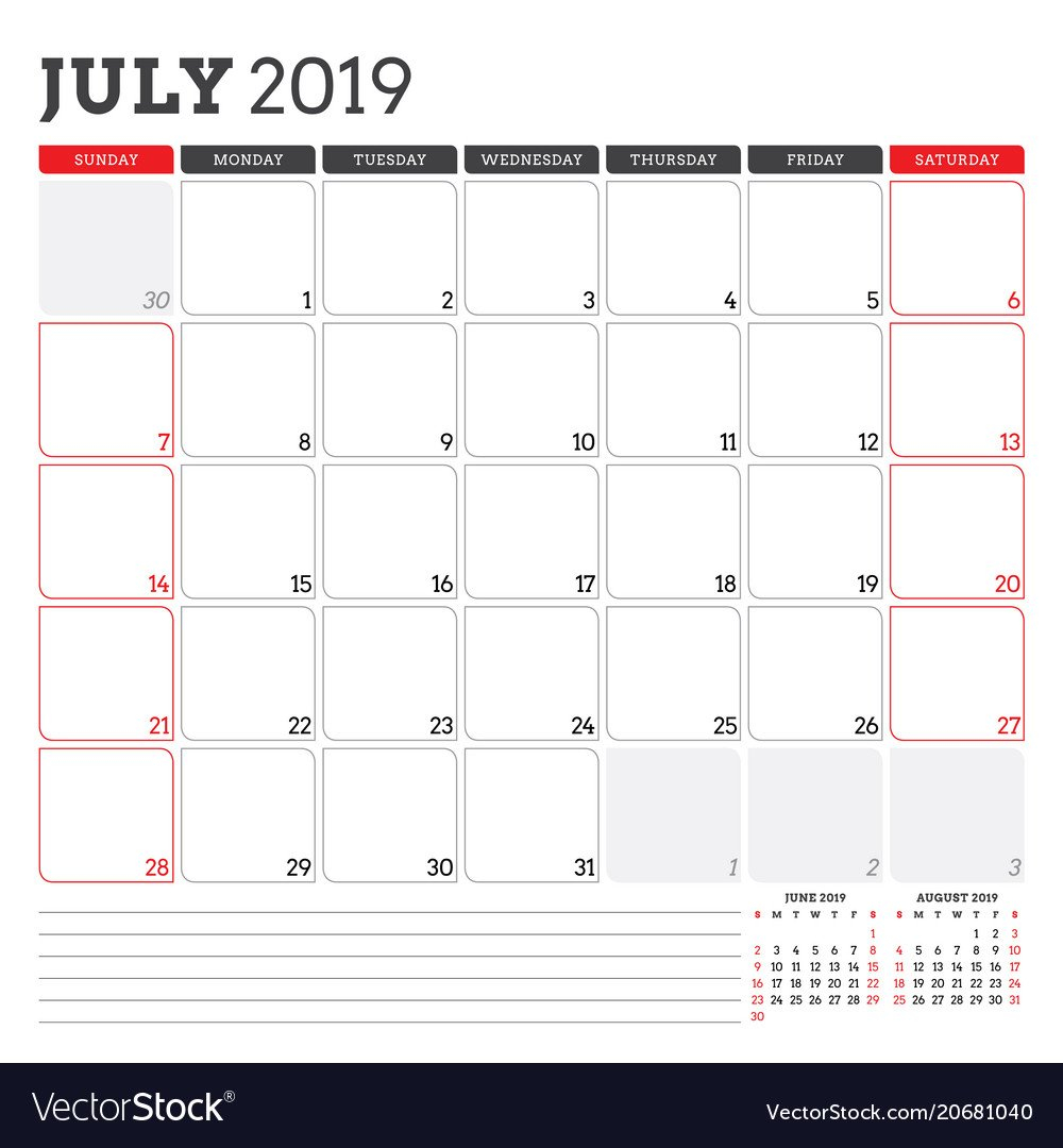 Calendar Planner For July 2019 Week Starts On Vector Image Calendar 2019 Planner
