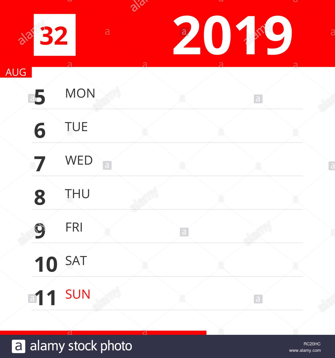 Calendar Planner For Week 32 In 2019, Ends August 11, 2019 Stock Calendar Week 32 2019