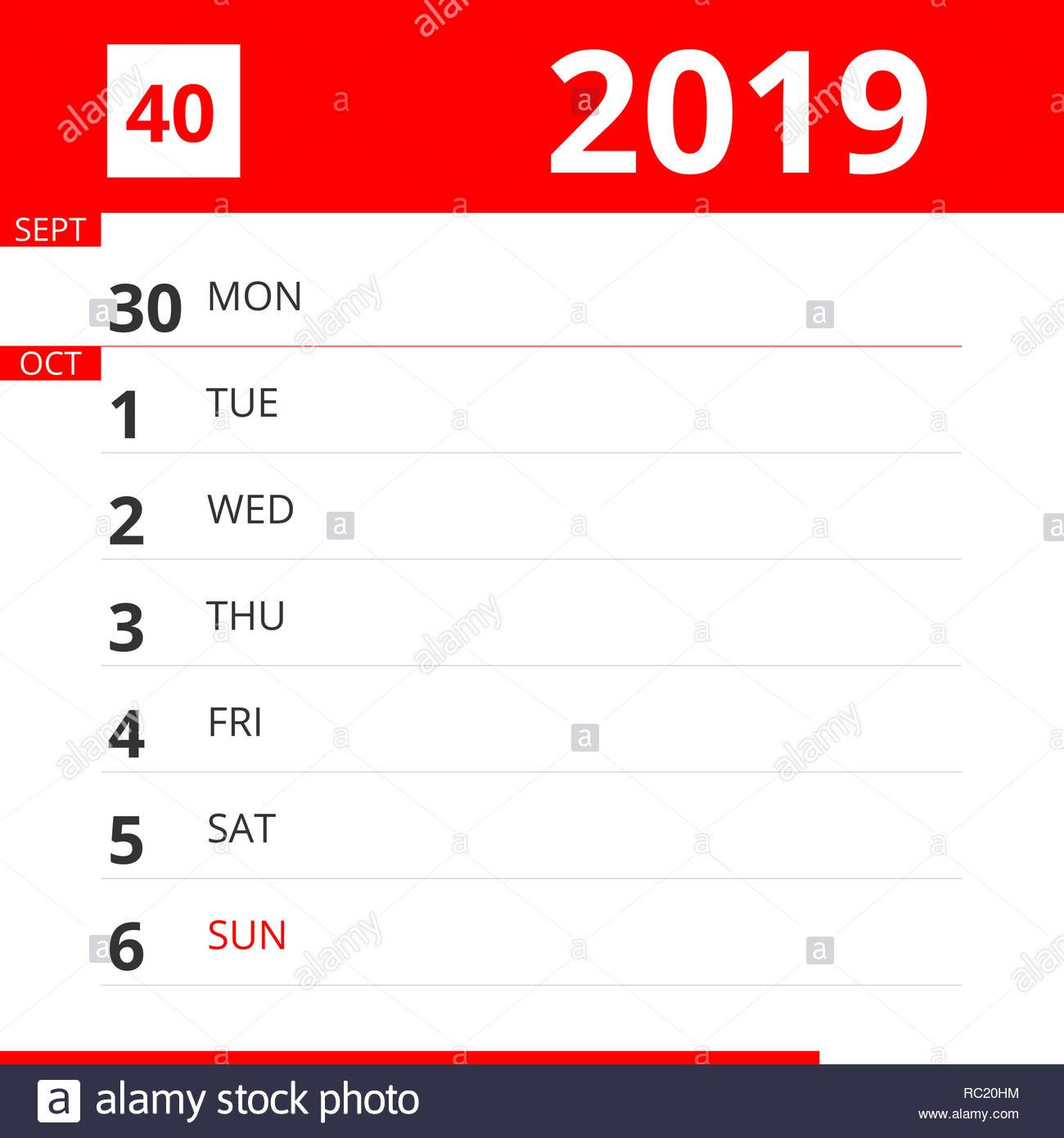 Calendar Planner For Week 40 In 2019, Ends October 6, 2019 Stock Calendar Week 40 2019