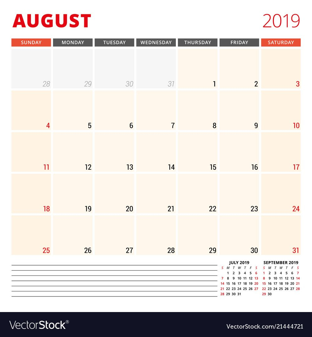 Calendar Planner Template For August 2019 Week Vector Image Calendar 2019 Planner