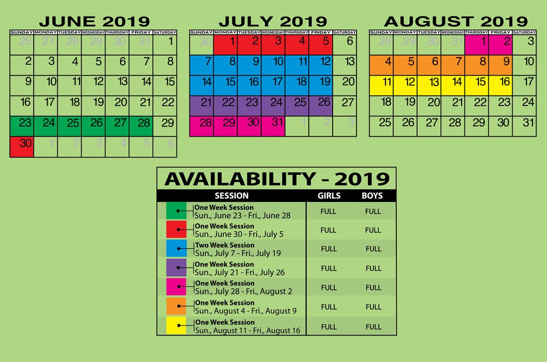 Calendar / Rates | Camp Downer Calendar 2019 Rates