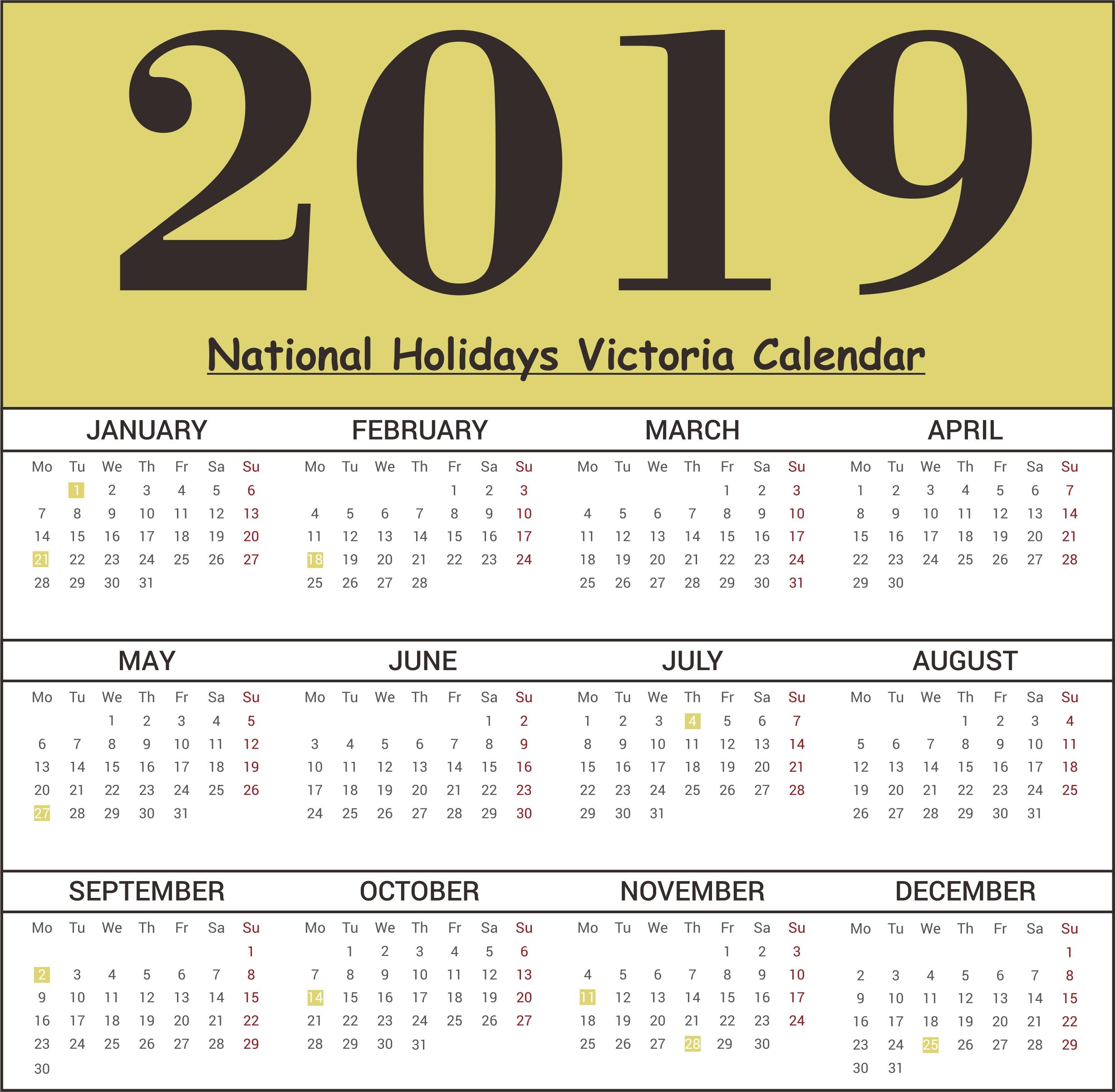 Calendar School Holidays Victoria • Printable Blank Calendar Template Calendar 2019 Vic School Holidays