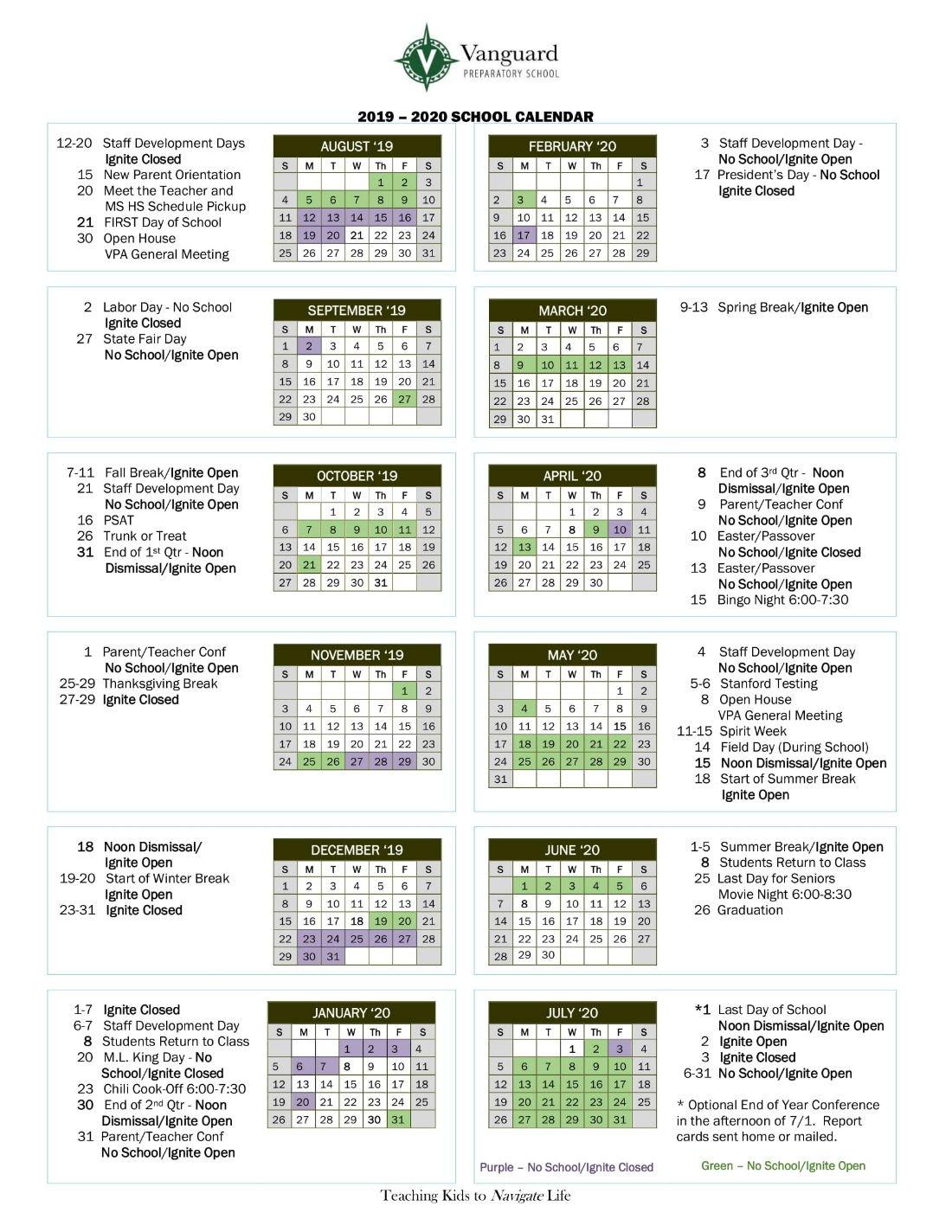 Calendar | Vanguard Preparatory School M State Calendar 2019