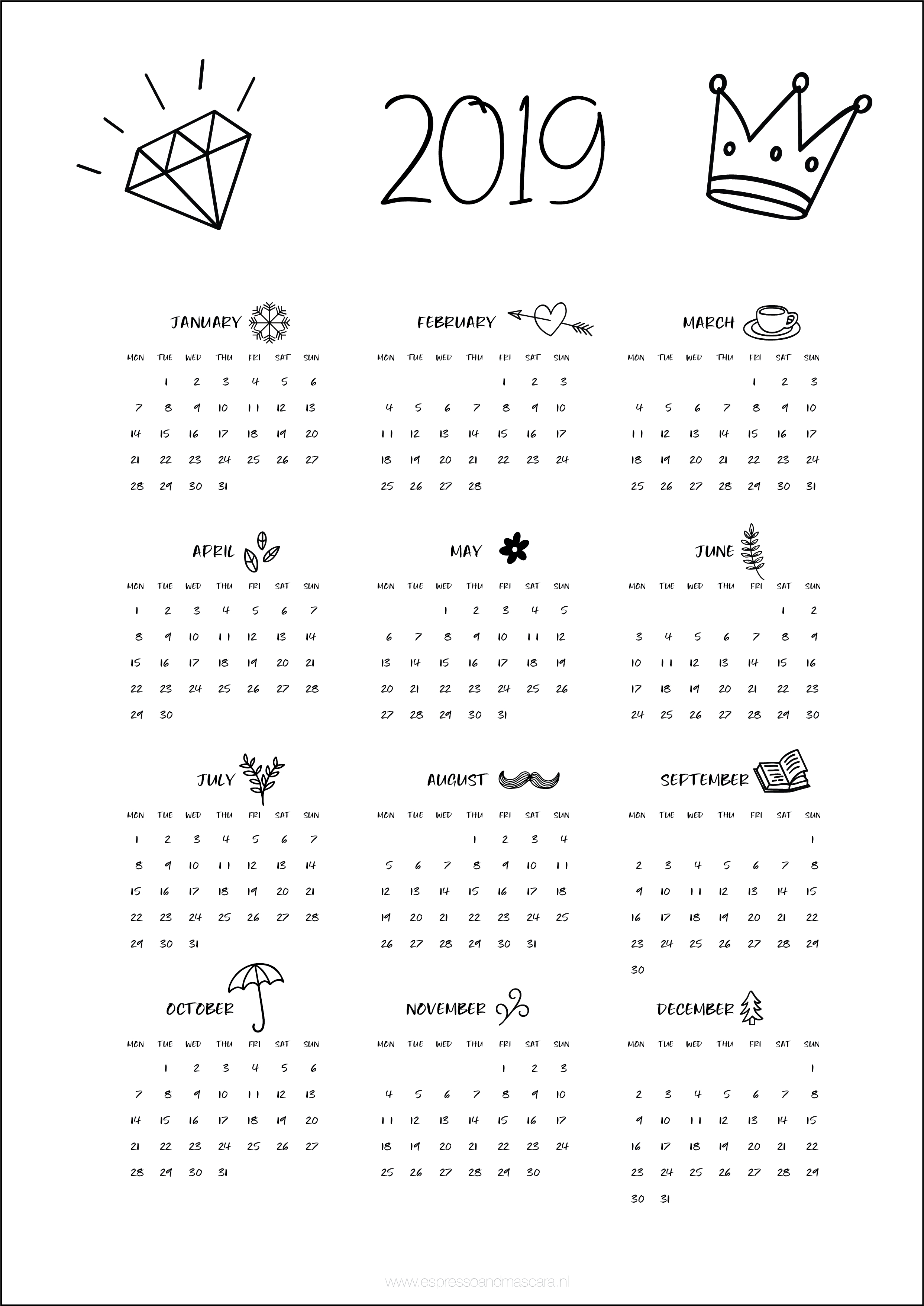 Calendars 2019 – Free Download | Insta | Pinterest | Calendar, 2019 Calendar 2019 Free
