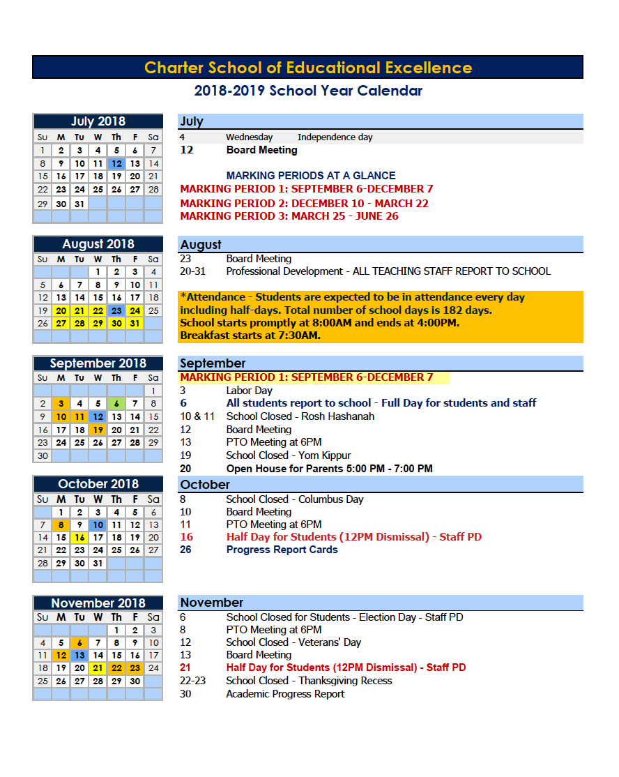 Calendars – Parents – Charter School Of Educational Excellence Calendar 2019 Nyc