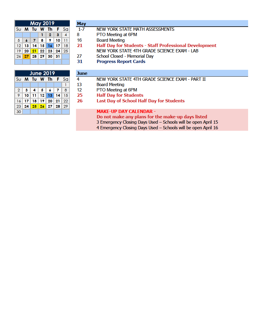 Calendars – Parents – Charter School Of Educational Excellence M State Calendar 2019