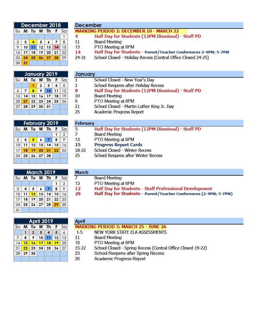 Calendars – Parents – Charter School Of Educational Excellence M State Calendar 2019
