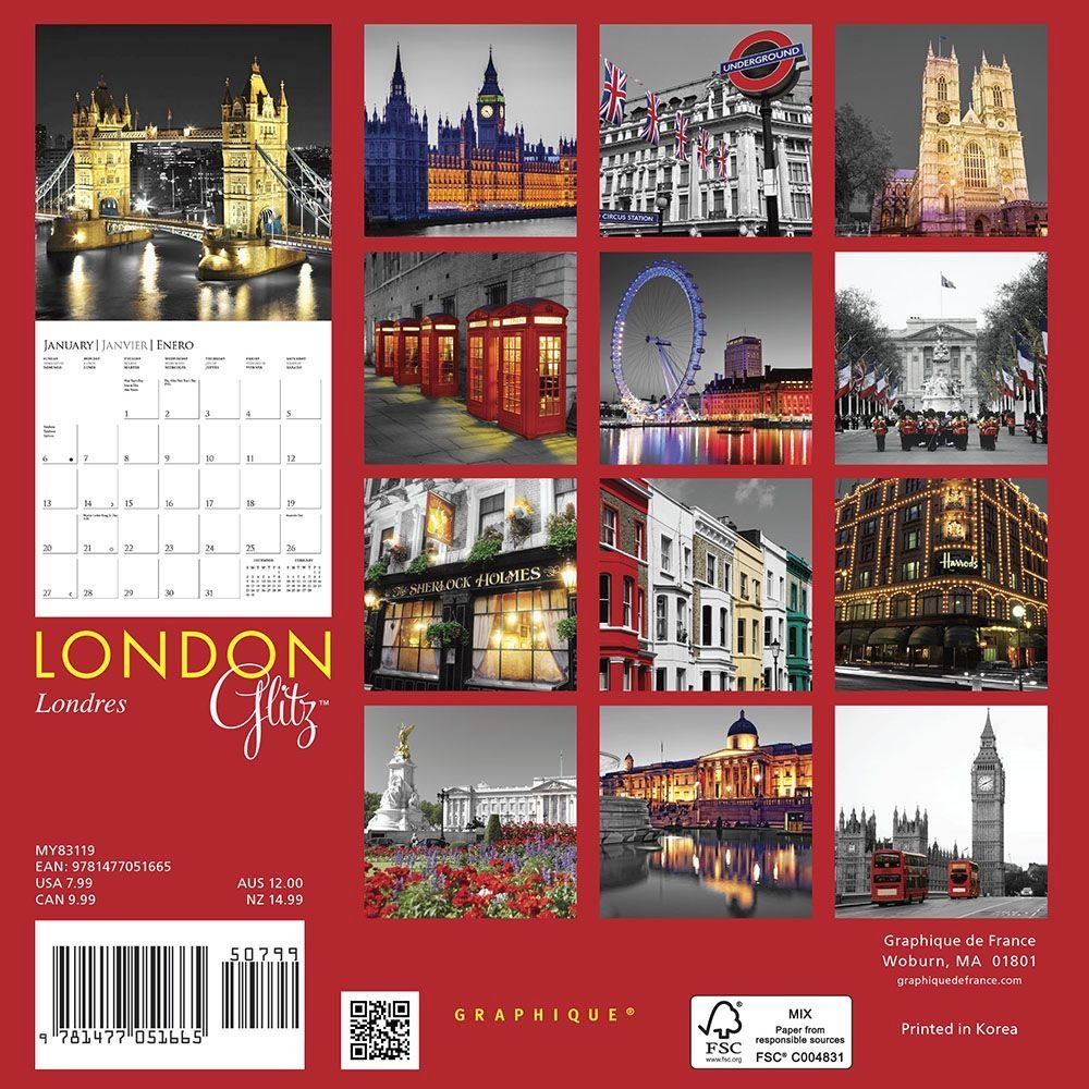 Calendarsdotcom: 2019 London Glitz Mini Wall Calendar,graphique Calendar 2019 London