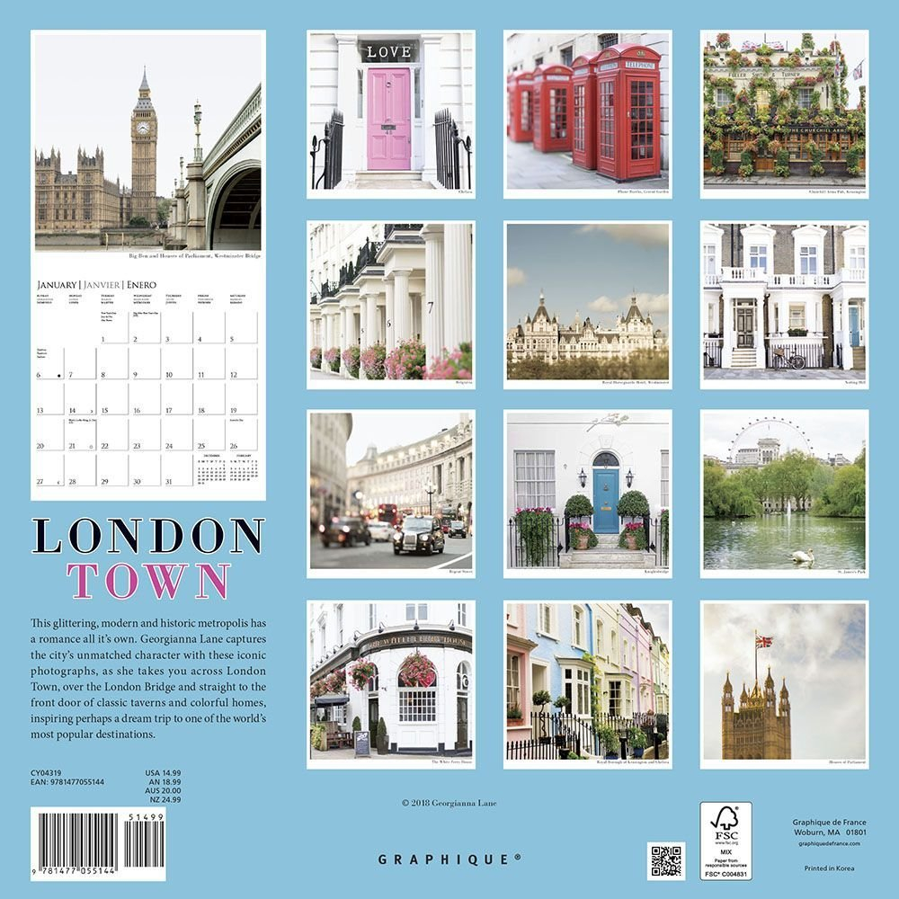 Calendarsdotcom: 2019 London Town Wall Calendar,graphique De Calendar 2019 London