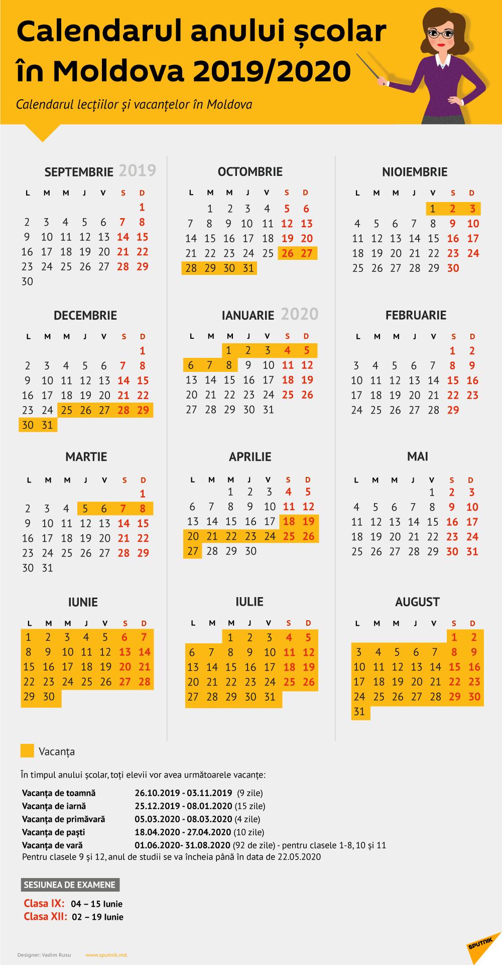 Calendarul Lecțiilor Și Vacanțelor: Anul Școlar 2019-2020 Calendar Scolar 2019 Clasa 8