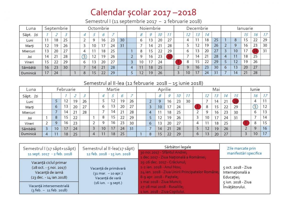 Calendarul Pentru Anul Școlar 2017-2018. Când Sunt Vacanțele, Zilele Calendar Scolar 2019 Clasa 8
