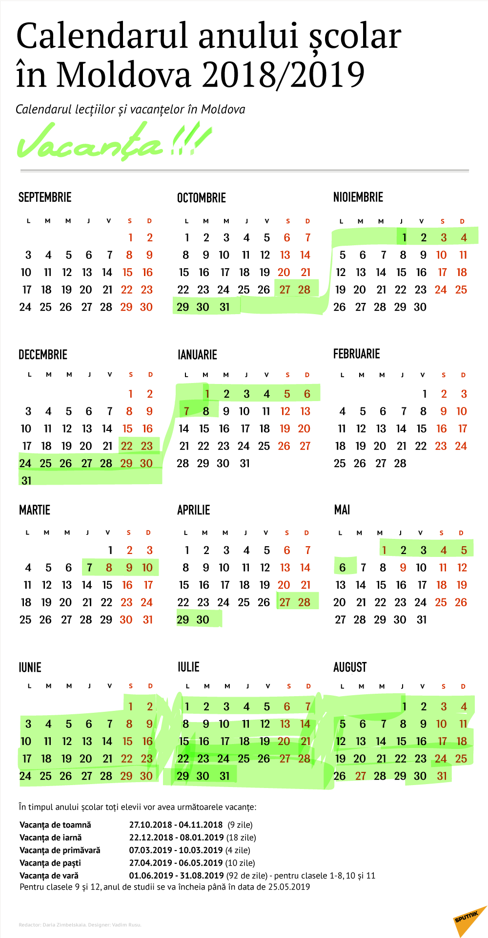 Calendarul Vacanțelor În Anul Școlar 2018 - 2019 Calendar Scolar 2019 Clasa 8