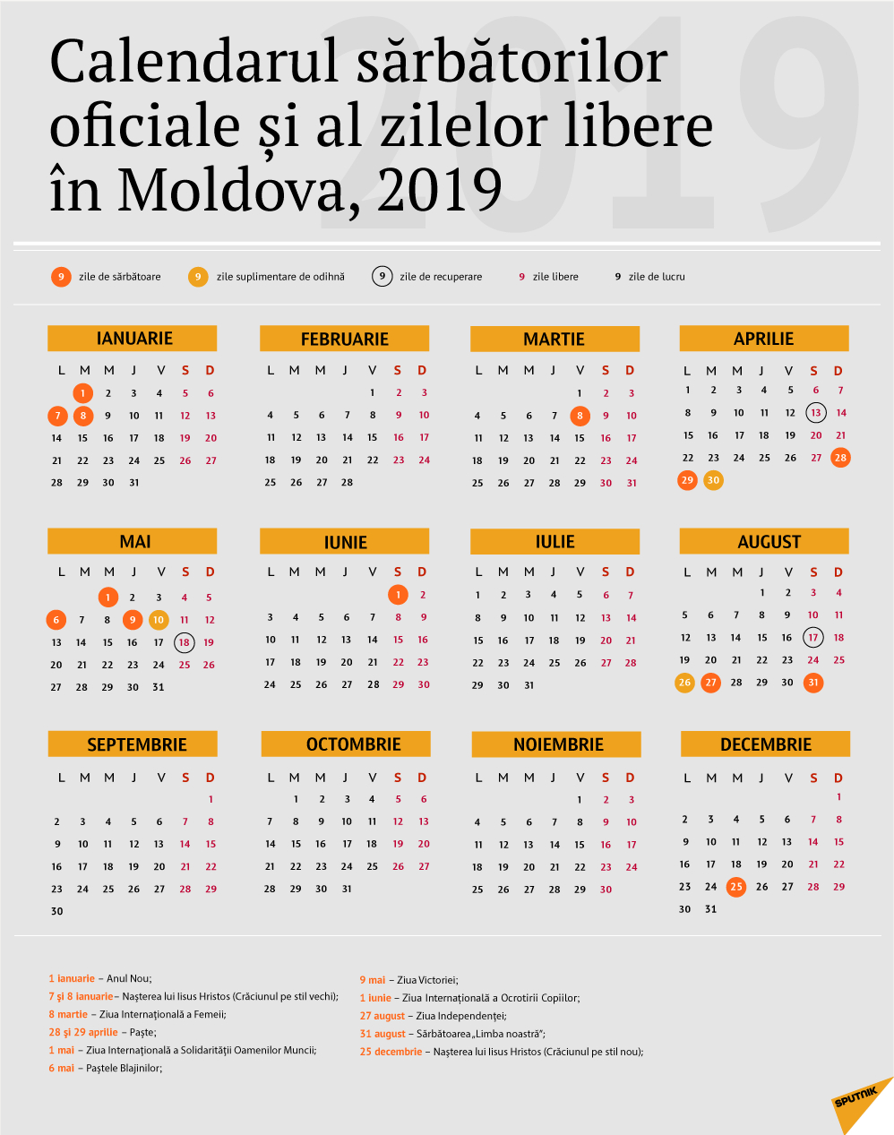 Calendarul Zilelor De Odihnă În Moldova Pentru Anul 2019 Calendar 2019 Zile Libere