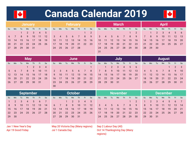 Canada 2019 Holidays Printable Calendar | 2019 Calendars | Holiday Calendar 2019 Canada