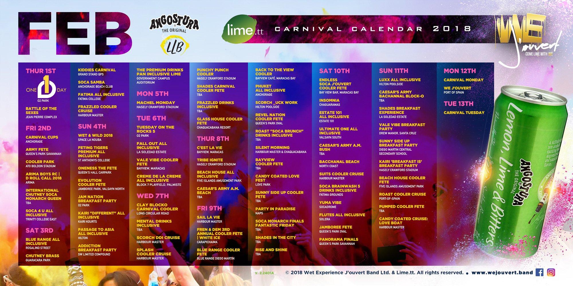 Carnival Calendar T&t Calendar 2019