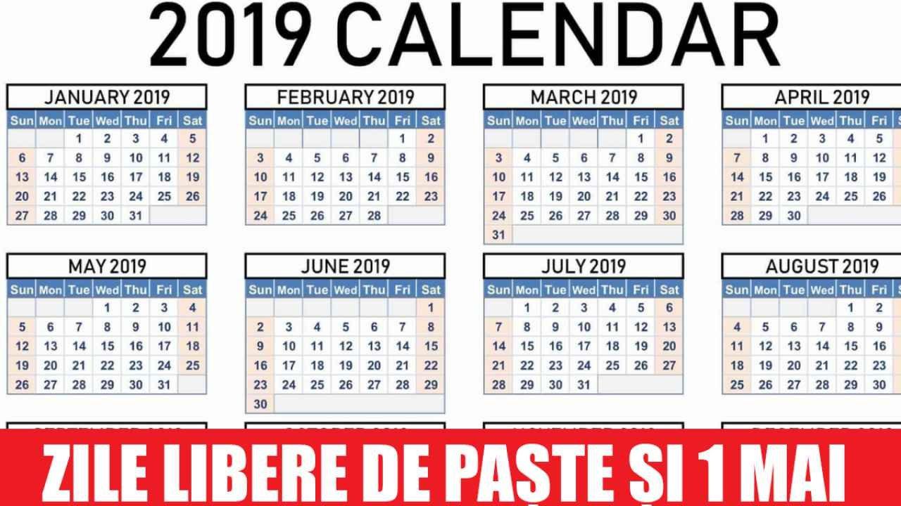 Câte Zile Libere Au Românii De Paște Și 1 Mai, Anunțul Oficial De La Calendar 2019 Zile Libere