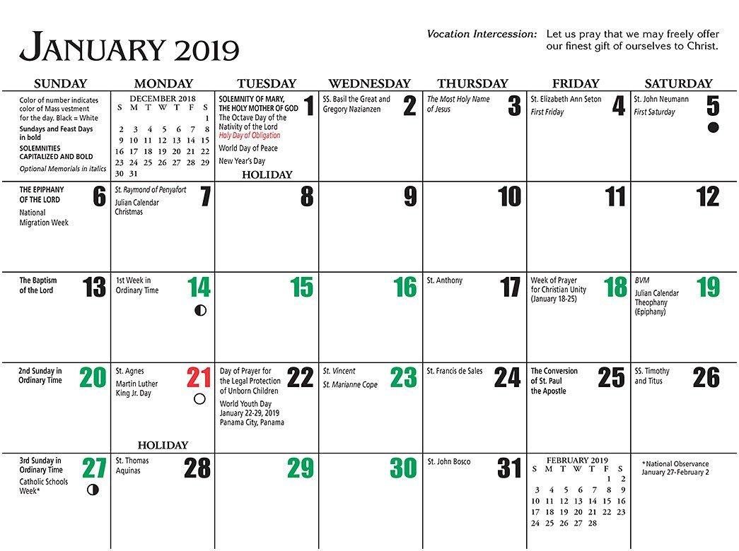 Catholic Liturgical Calendar 2019 To Download Or Print Calendar 2019 Catholic