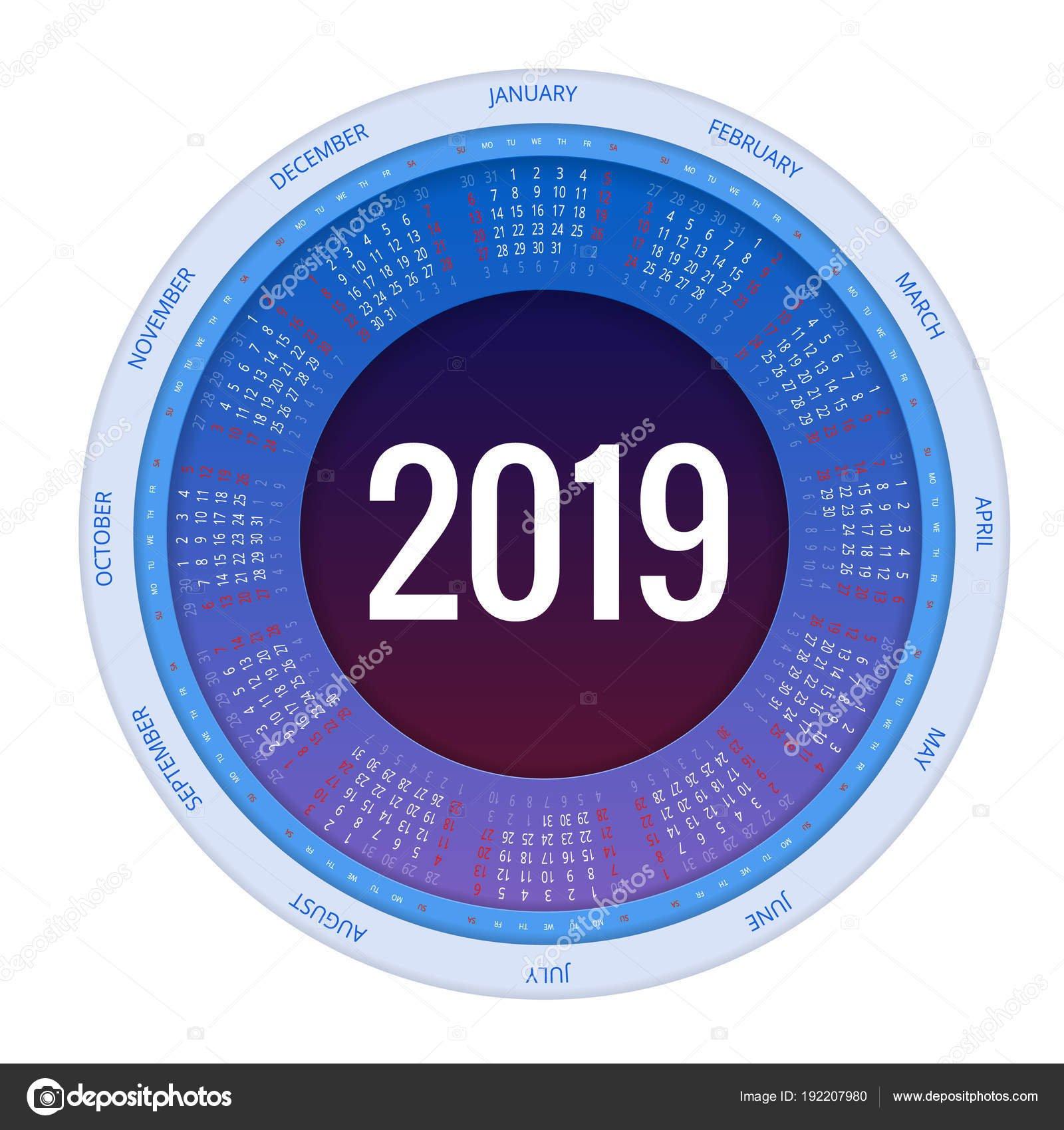Colorful Round Calendar 2019 Design, Print Template, Your Logo And Calendar 2019 Logo