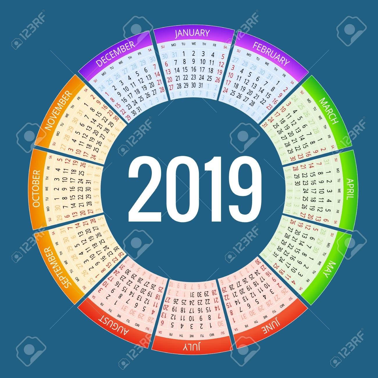 Colorful Round Calendar 2019 Design, Print Template, Your Logo Calendar 2019 Logo