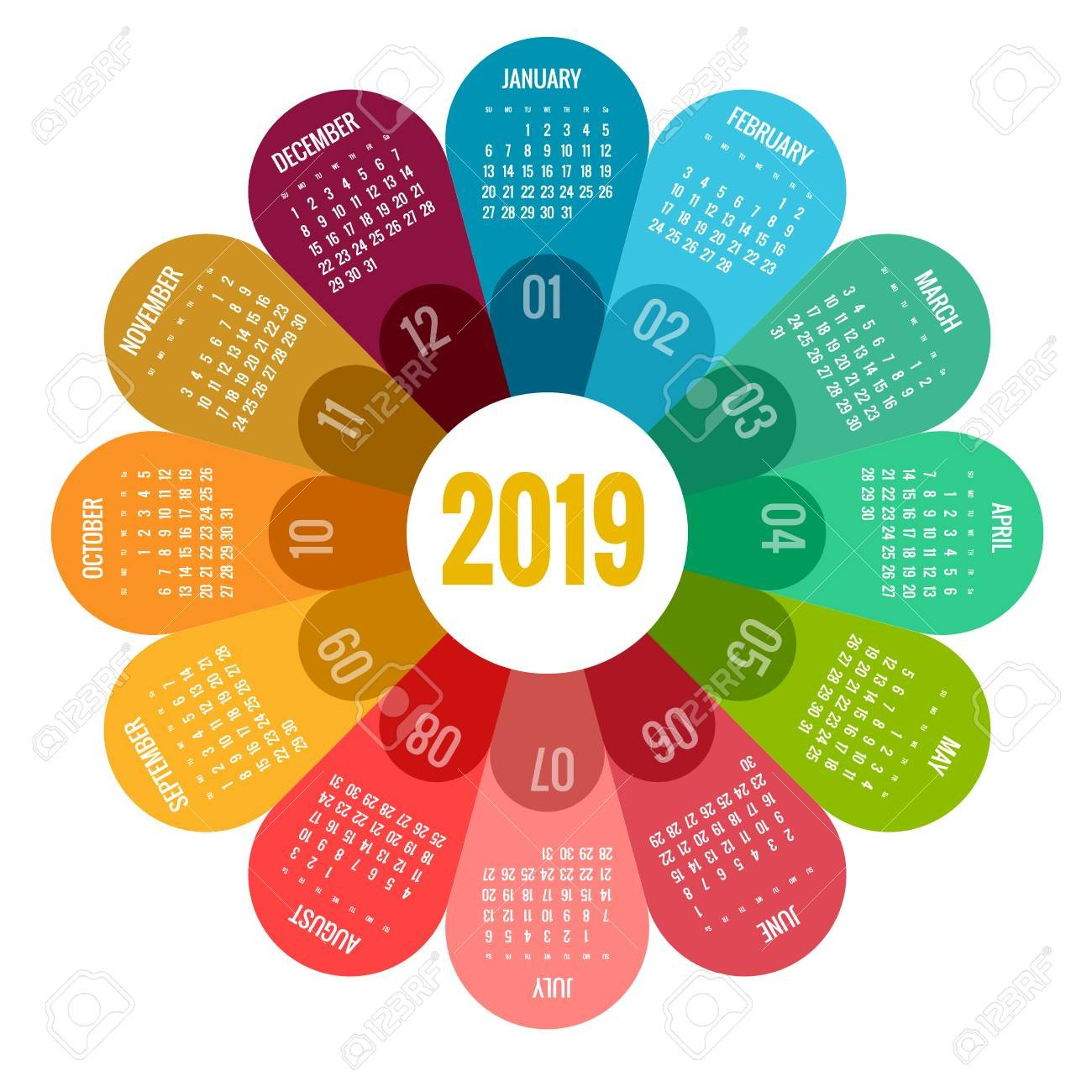 Colorful Round Calendar 2019 Design, Print Template, Your Logo Calendar 2019 Logo