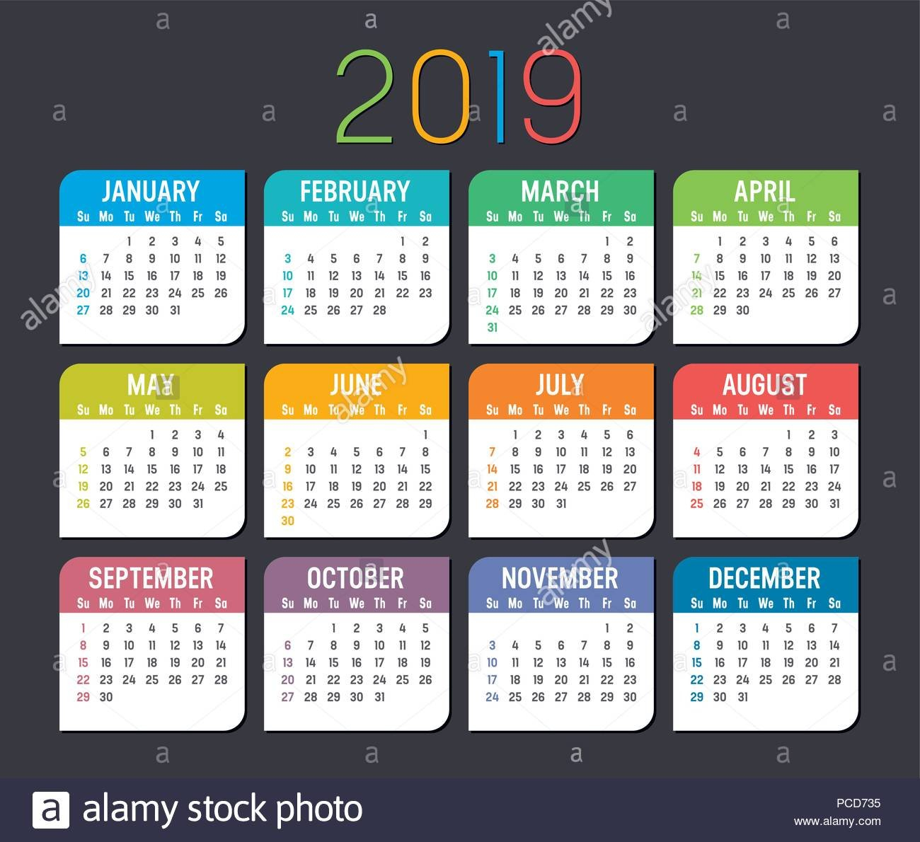 Colorful Year 2019 Calendar Isolated On A Dark Background Stock Calendar 2019 Background