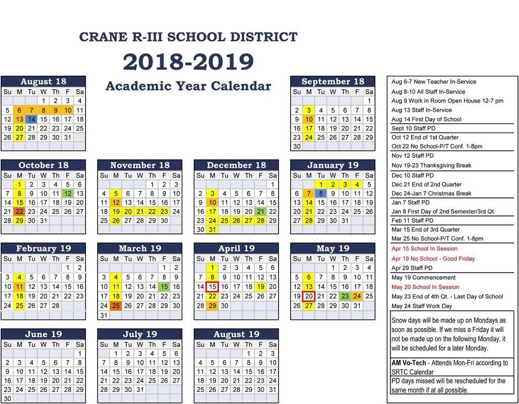 Crane 2018-2019 School Calendar - Ccscr News R 2019 Calendar