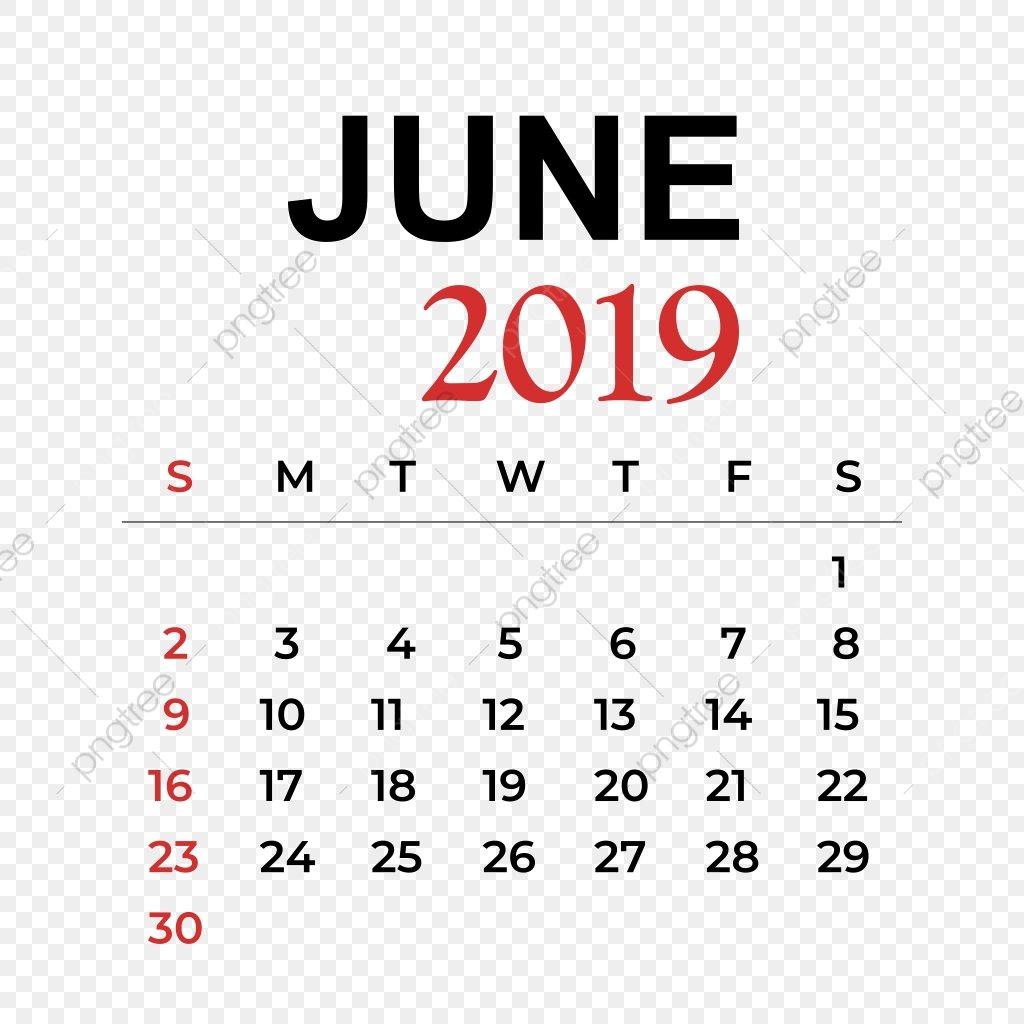В Июне Месяце 2019 Календарь Календарь Вектор Год Png И Вектор Для June 7 2019 Calendar