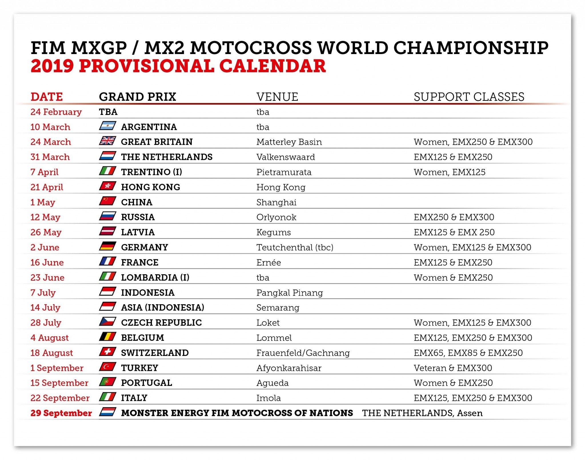 Календарь 2019 — Добро Пожаловать В Мир Мотоспорта Rally X Calendar 2019