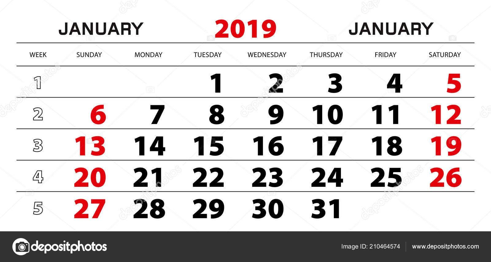 Настенный Календарь 2019 Января Начало Недели Воскресенья Блок X Calendar 2019 Download