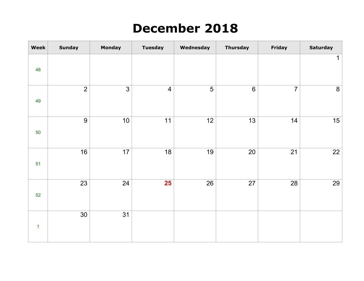 December 2018 Calendar Template Pdf, Word, Excel - Printable Calendar 2019 Template Pdf