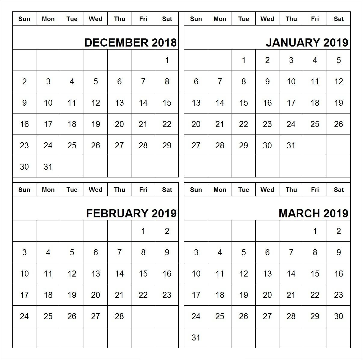 December 2018 January February March 2019 Calendar Printable | 555+ Calendar 2019 Jan Feb March